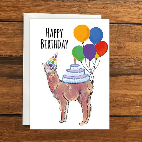 Happy Birthday Llama greeting card A6