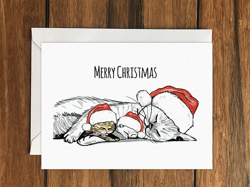 Merry Christmas Cats Greeting Card A6