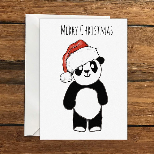 Merry Christmas Panda Greeting Card A6