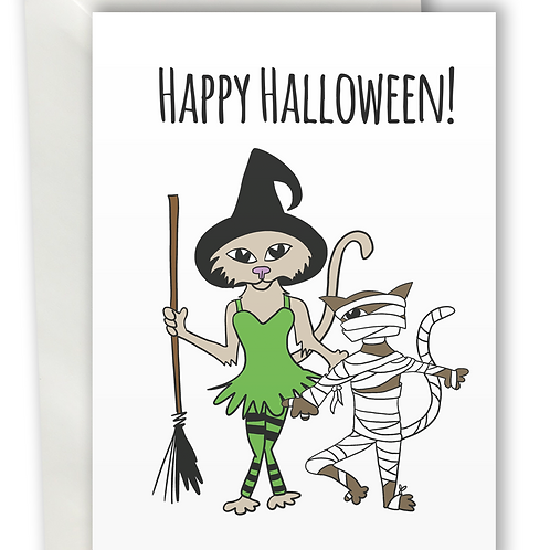 Halloween Cats Witch and Mummy greeting card A6