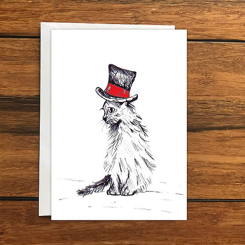 Cat in black and red hat