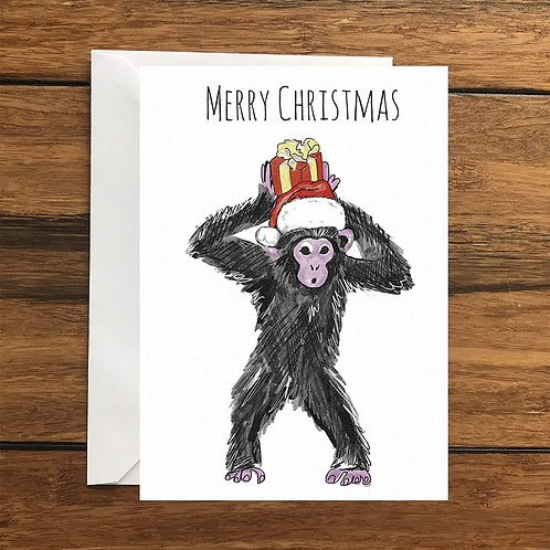 Merry Christmas Monkey Greeting Card A6
