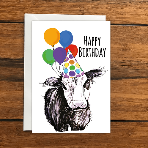 Happy Birthday Cow greeting card A6