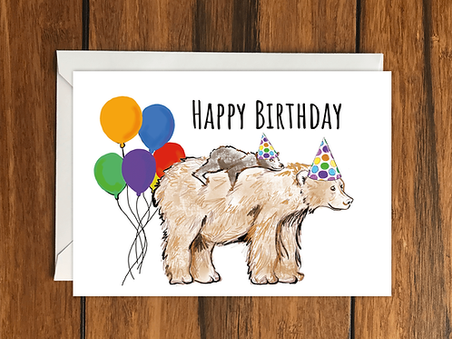 Happy Birthday Bears greeting card A6