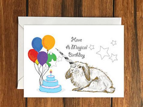 Have a Magical Birthday Rabbit Unicorn Happy Birthday One Blank Greeting card A6