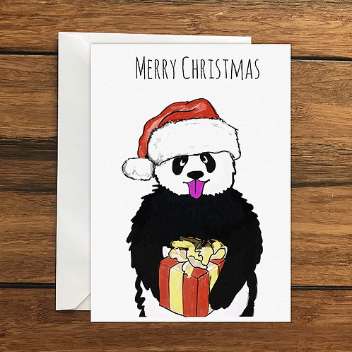 Merry Christmas Panda Greeting Card A6