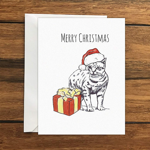 Merry Christmas Cat Greeting Card A6
