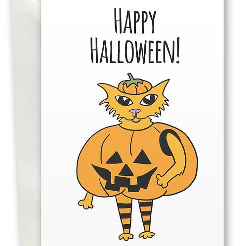 Halloween Pumpkin Cat greeting card A6