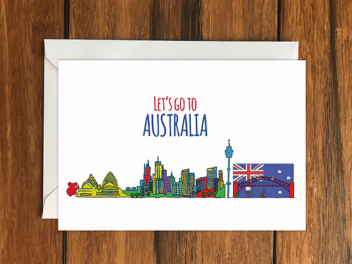 Let's Go to Australia greeting card A6