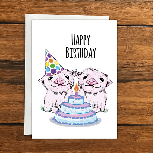 Happy Birthday Pigs greeting card A6
