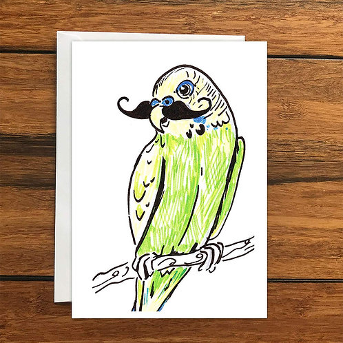 Budgie with moustache Greeting Card A6
