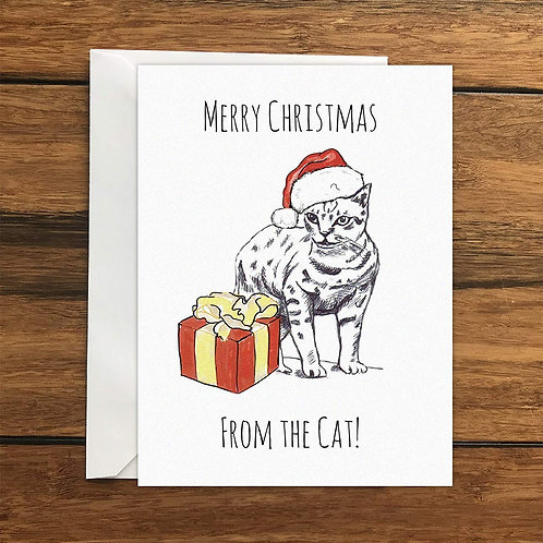 Merry Christmas From The Cat Greeting Card A6