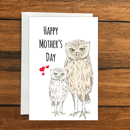 Happy Mothers Day Owls greeting card A6