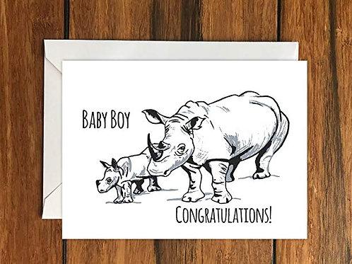 Baby Boy Congratulations Rhino blank greeting card A6