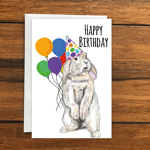 Happy Birthday Rabbit greeting card A6