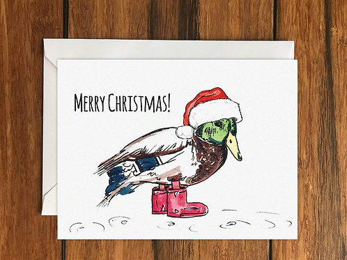Merry Christmas Duck Greeting Card A6