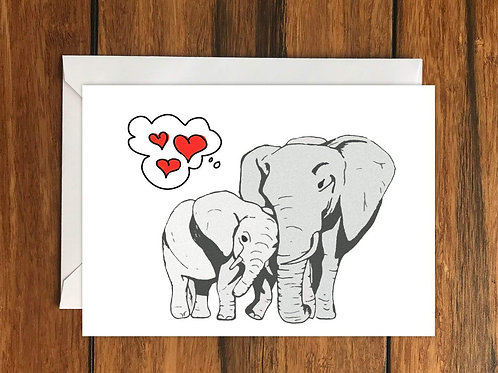 Elephant Love greeting card A6