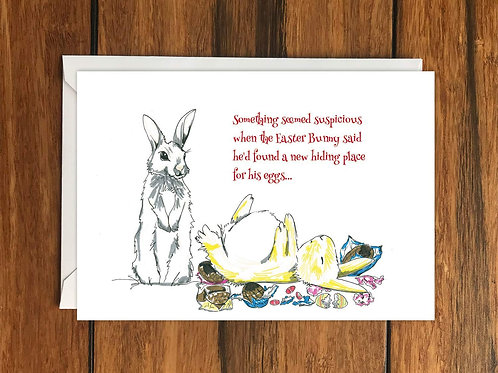 Easter Bunny Eggs greeting card A6