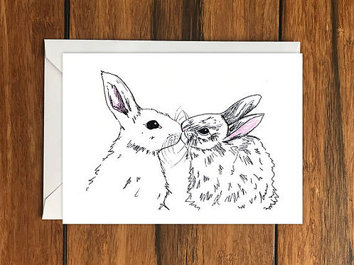 Rabbits Kissing Card
