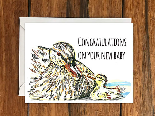 Congratulations on your new baby Ducks greeting card A6