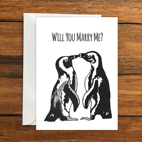 Will you marry me? Penguins Greeting Card Size A6