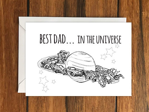 Best Dad In the Universe Fathers Day Greeting Card A6