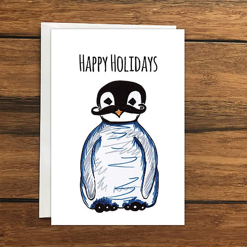 Happy Holidays Penguin Moustache Greeting Card A6