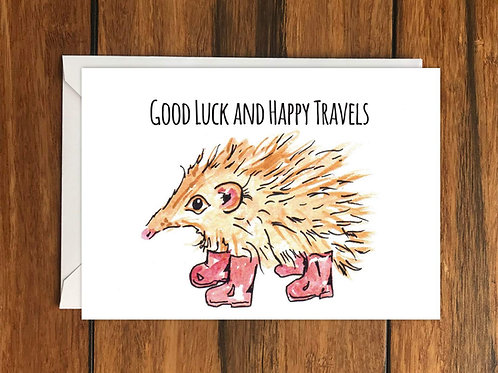 Good luck And Happy Travels Hedgehog greeting card A6