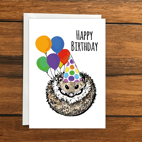 Happy Birthday Hedgehog greeting card A6