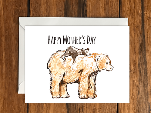Happy Mothers Day Bear greeting card A6