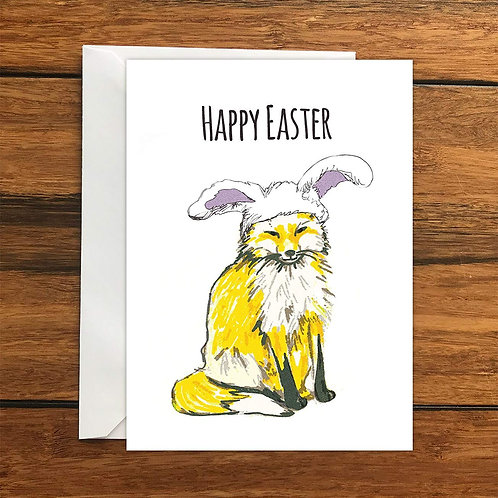 Happy Easter Bunny Fox Greeting Card A6