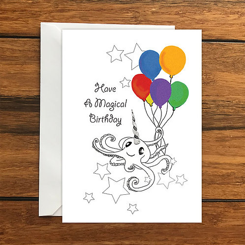 Have a Magical Birthday Octopus Unicorn Happy Birthday Blank Greeting card A6