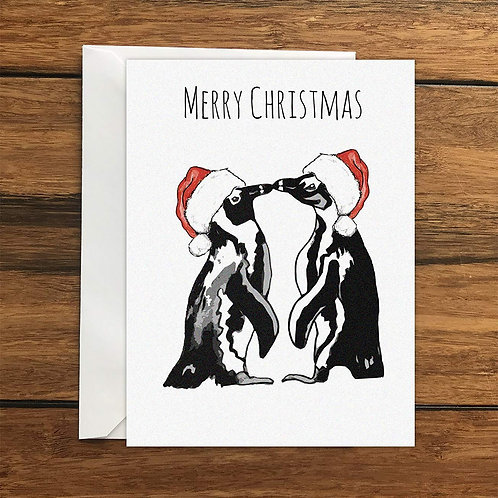 Merry Christmas Penguins Greeting Card A6