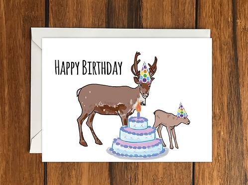 Happy Birthday Reindeer greeting card A6
