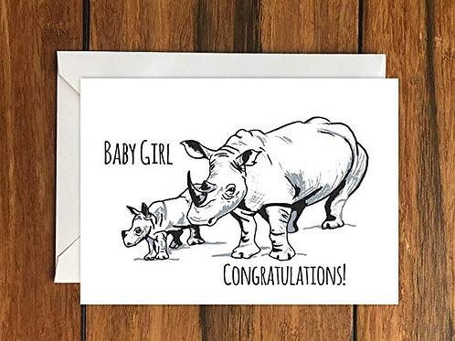 Baby Girl Congratulations Rhino Greeting Card A6