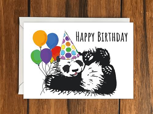 Happy Birthday Panda greeting card A6