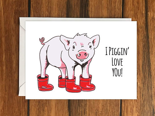 Piglet Birthday card Be as happy as a pig in wellies greeting card A6