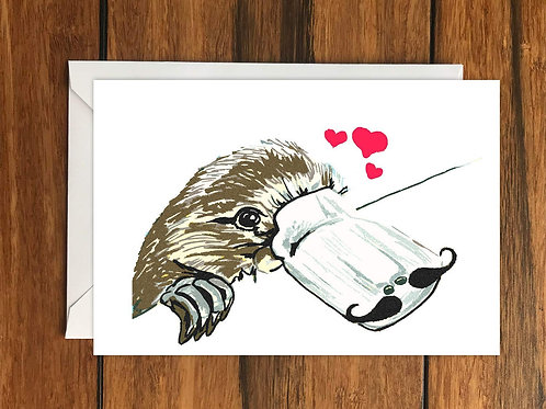 Duckbilled platypus with Moustache In Love greeting card A6
