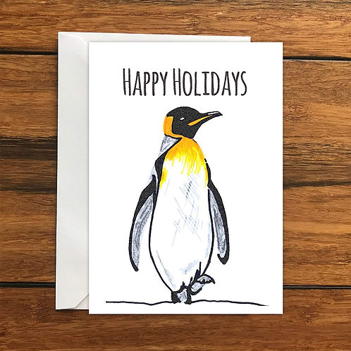 Happy Holidays Penguin Greeting Card A6