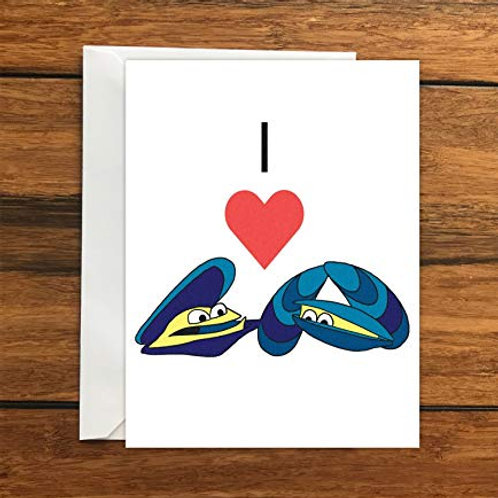 I Love Mussels greeting card A6