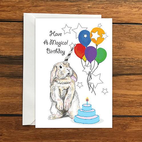 Have a Magical Birthday Rabbit Unicorn Happy Birthday Blank Greeting card A6