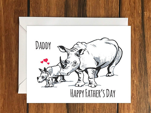 Daddy Happy Fathers Day Rhino greeting card A6