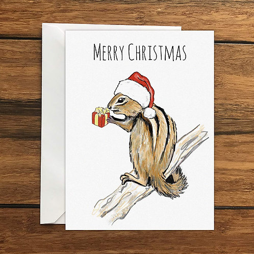 Merry Christmas Chipmunk Greeting Card A6