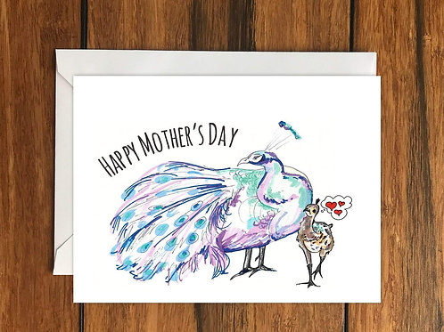 Happy Mothers Day Peacock Greeting Card A6