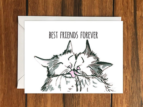 Best Friends Forever Cats Greeting Card A6