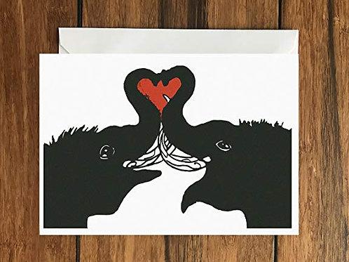 Elephant Trunk Love Heart greeting card A6