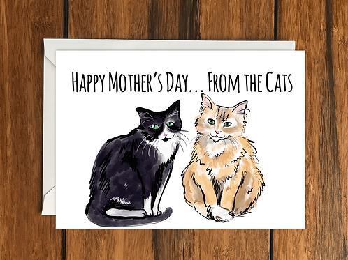 Happy Mothers Day from the Cats greeting card A6