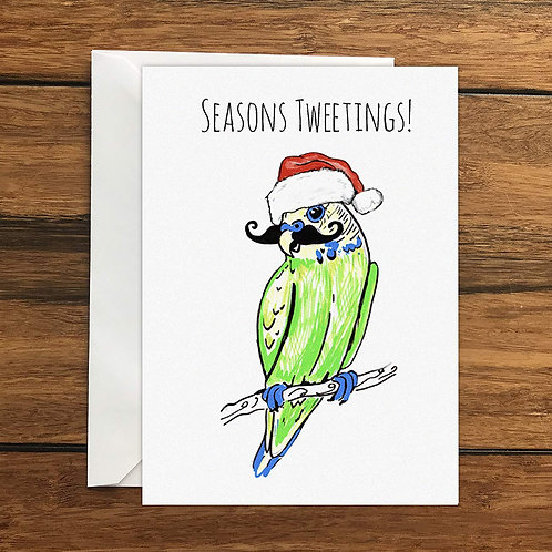 Seasons Tweetings! Budgie with moustache Greeting Card A6