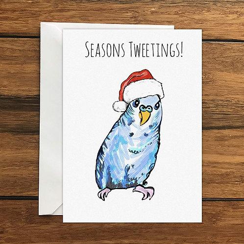 Seasons Tweetings Budgie Greeting Card A6
