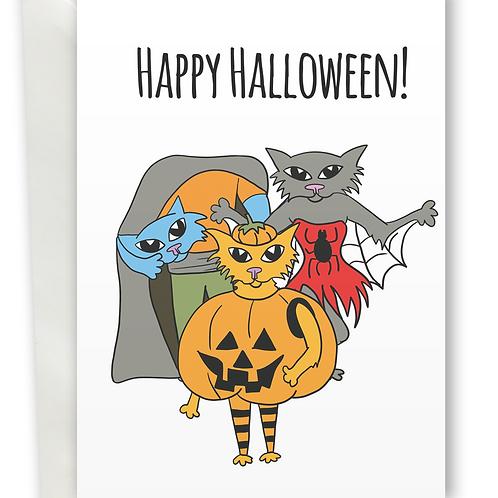 Happy Halloween Pumpkin, Spider, Headless ghost Cat greeting card A6